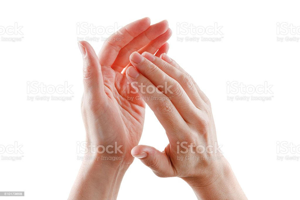 beautiful female hands isolated on white background applause stock photo