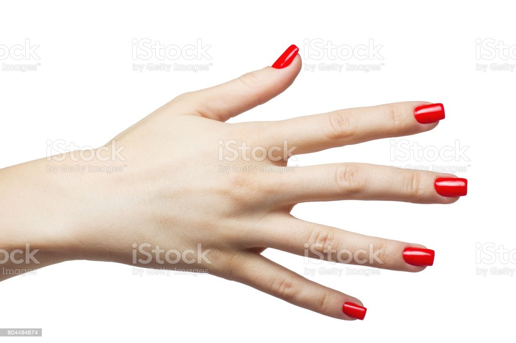 Beautiful female hands with red manicure and nail stock photo