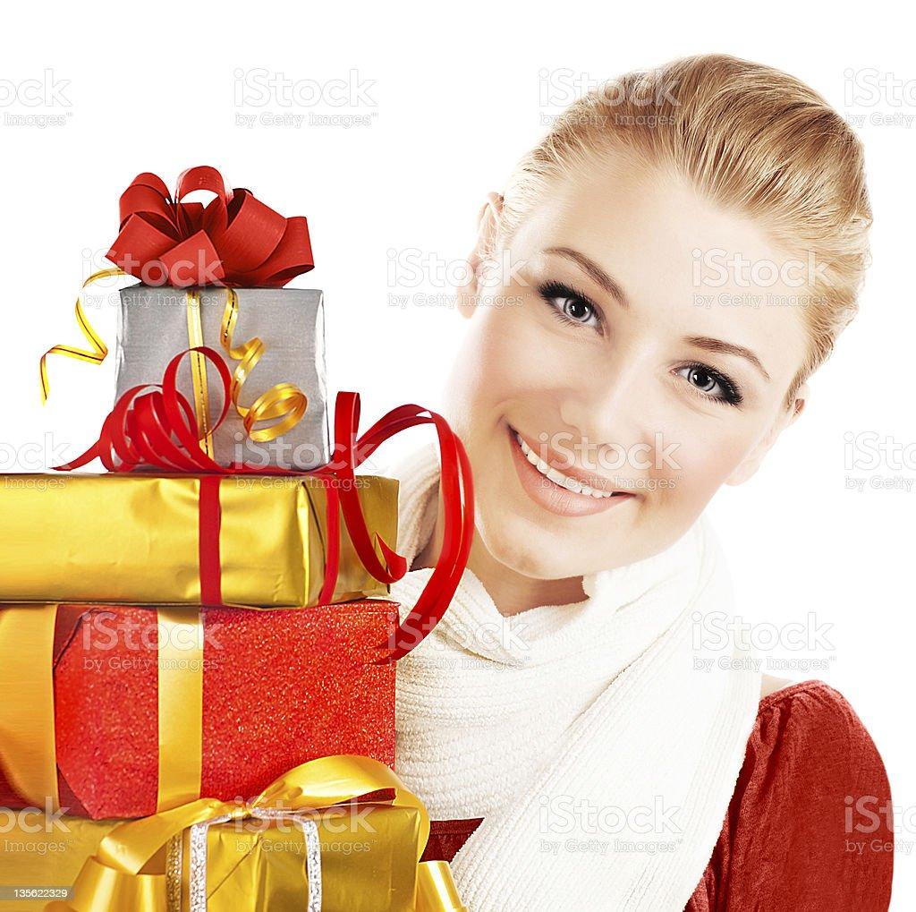 Beautiful female holding gifts royalty-free stock photo