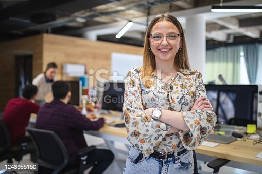 Young female software development business manager