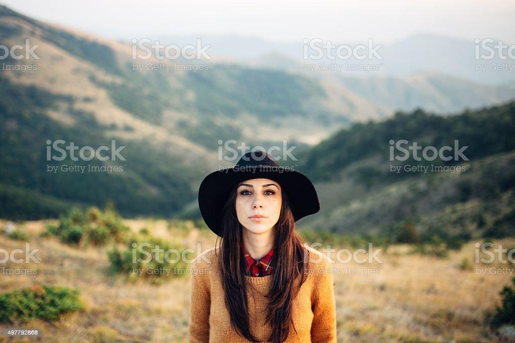 Beautiful female looking at camera stock photo