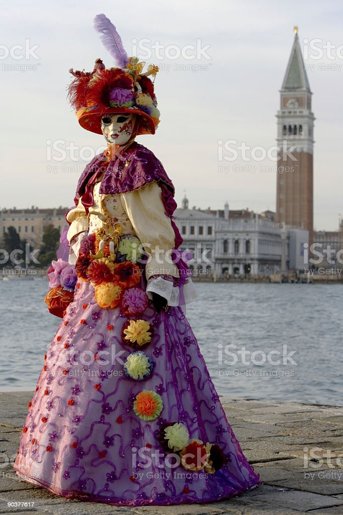 Beautiful female mask at Grand Canal with Campanile (XXL) royalty-free stock photo