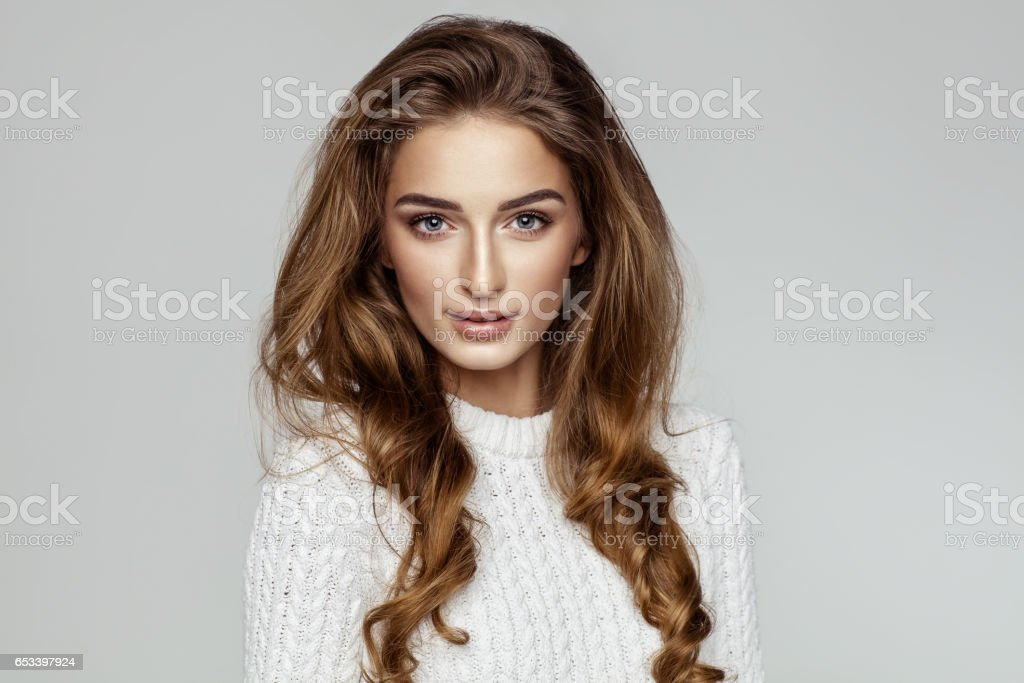 Beautiful female model face stock photo