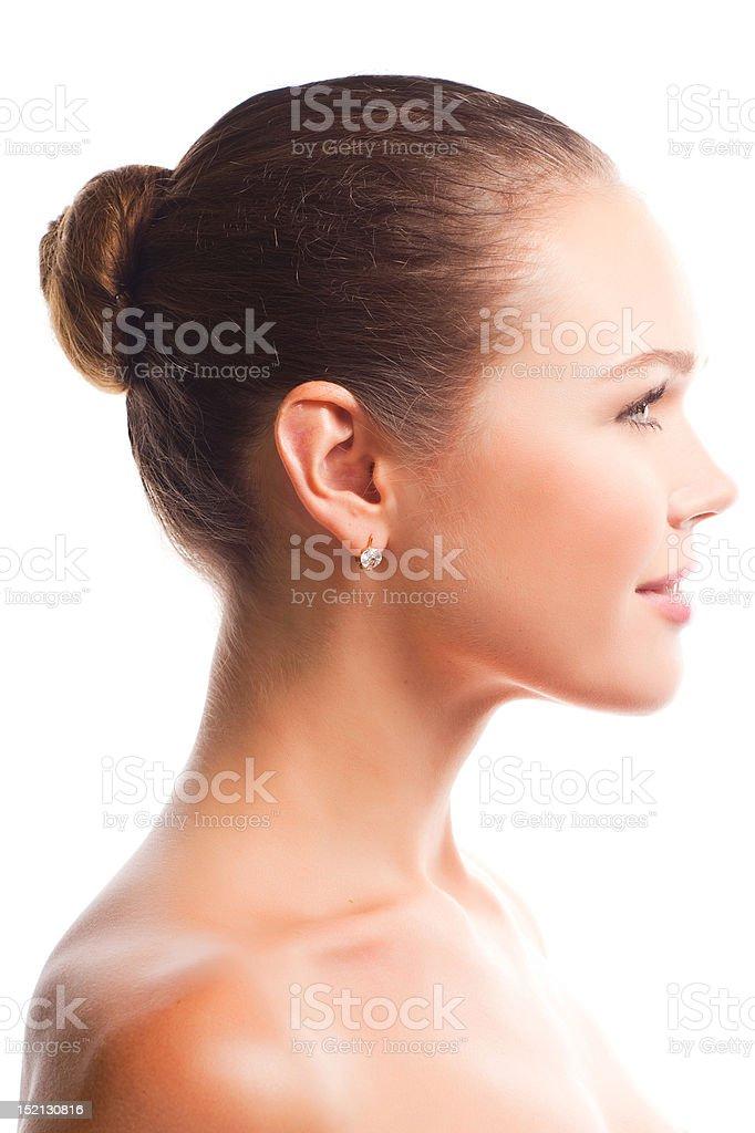 beautiful female profile stock photo