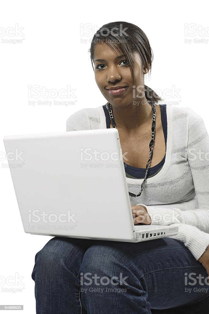 Beautiful female student with laptop royalty-free stock photo