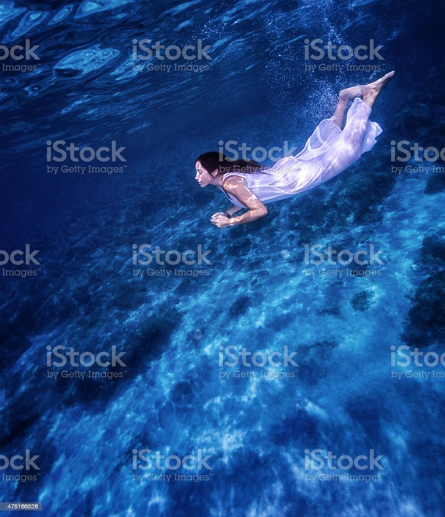 Beautiful female underwater stock photo