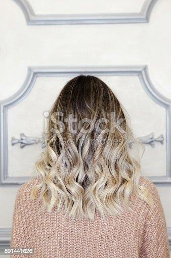 istock Beautiful female with balayage hairstyle back view 891441626