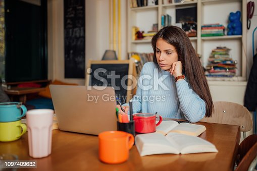 istock Beautiful female with brown hair at the office 1097409632