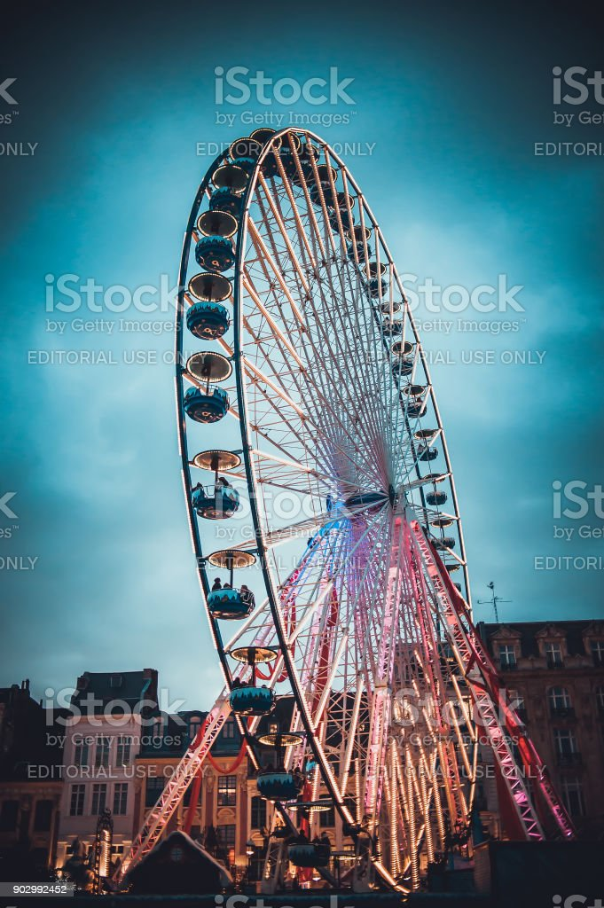 beautiful ferris wheel with christmas decorations royalty free stock photo