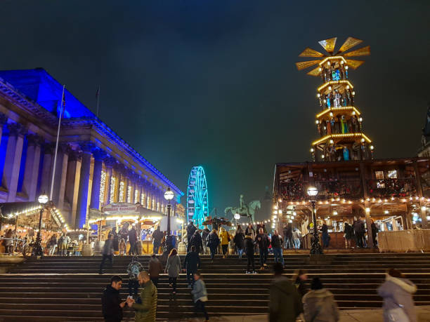 Beautiful festive scene at a Christmas Market near Liverpool Lime Street Train Station stock photo