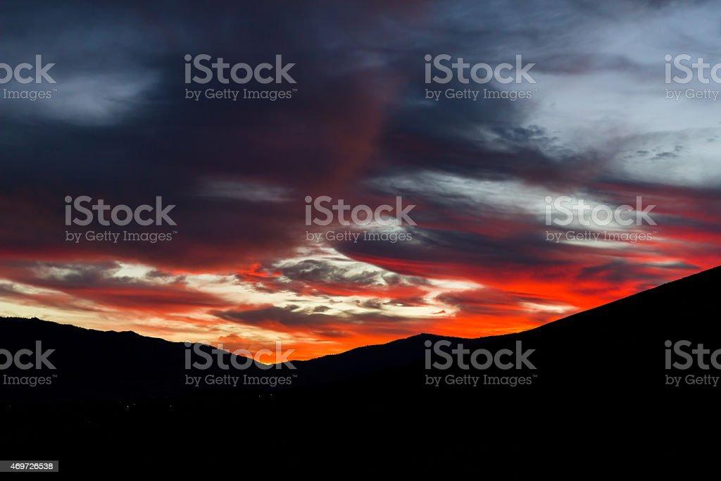 Beautiful fiery sunset over Reno, Nevada stock photo