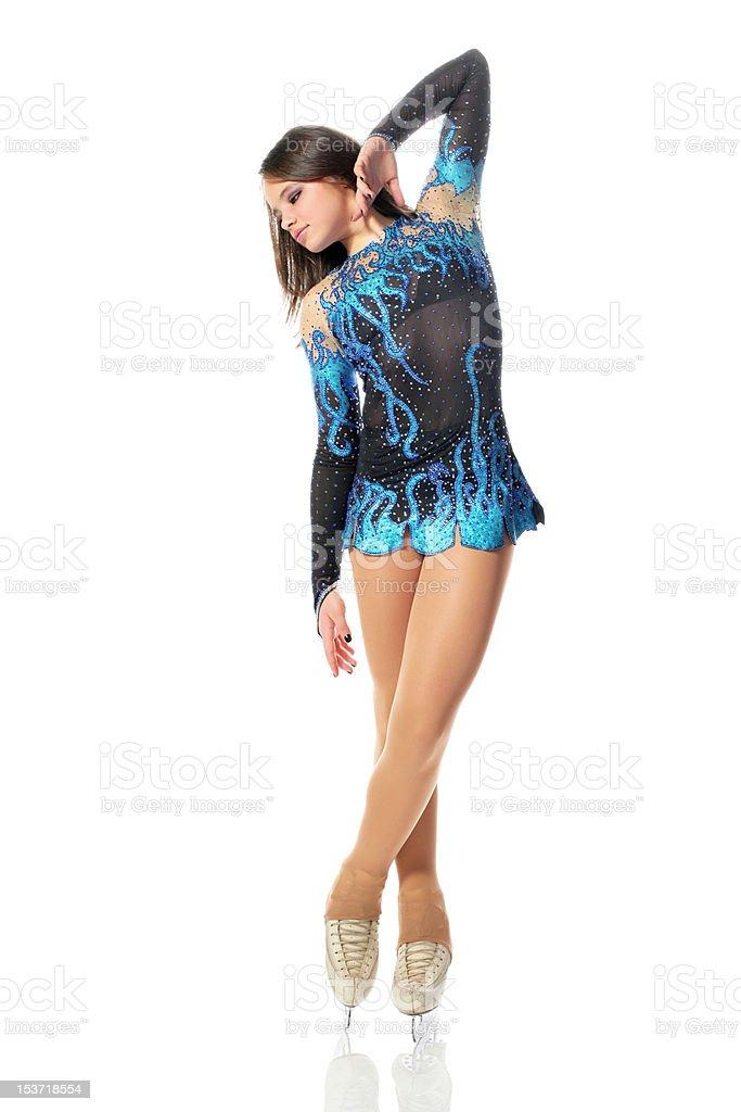Beautiful figure skater on white background stock photo