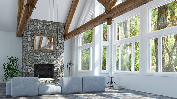 beautiful fireplace in modern cottage - wood stone bildbanksfoton och bilder