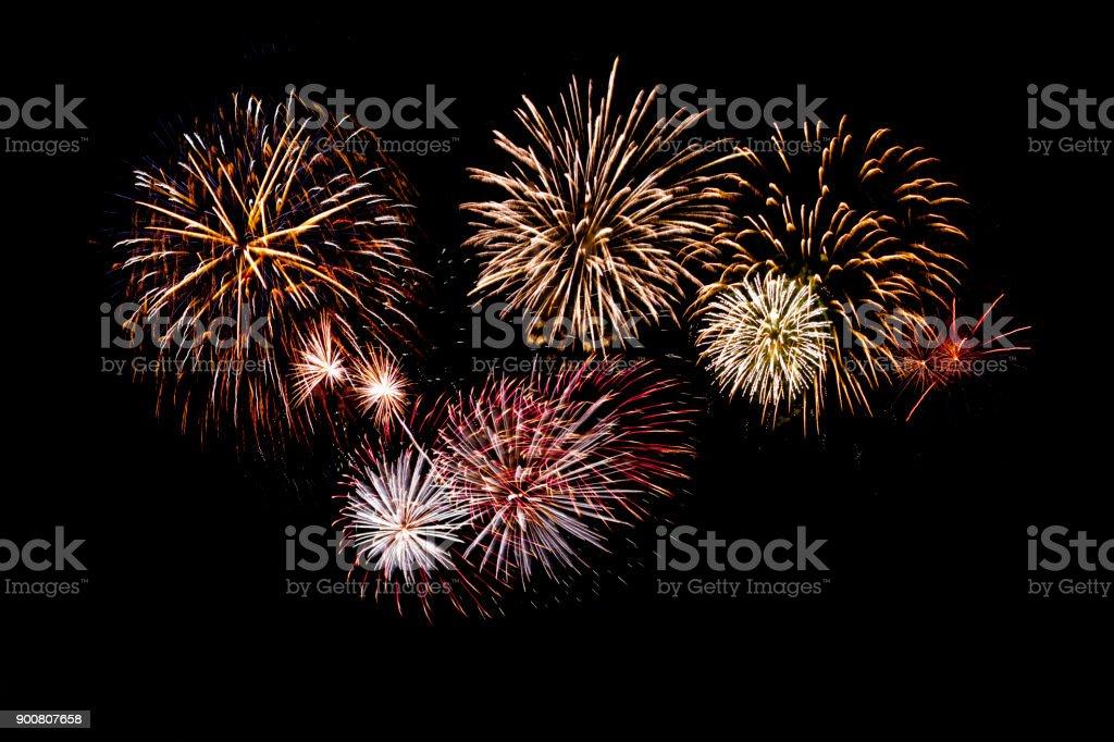 beautiful fireworks display on black background isolated fireworks on black background Anniversary Stock Photo