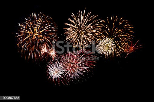 isolated fireworks on black background