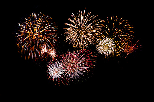 Beautiful Fireworks Display On Black Background Stock Photo - Download Image Now