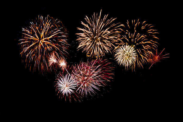 beautiful fireworks display on black background stock photo