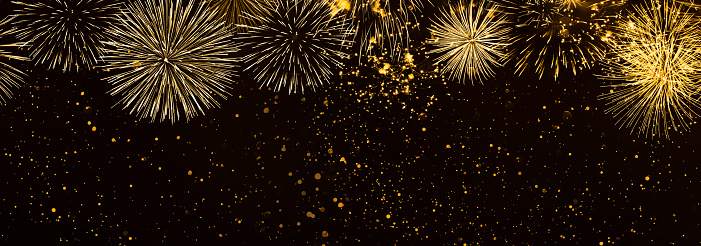 istock beautiful fireworks in the night background panorama 1037509274