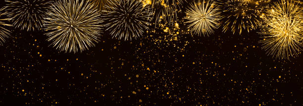 beautiful fireworks in the night background panorama - banner web foto e immagini stock