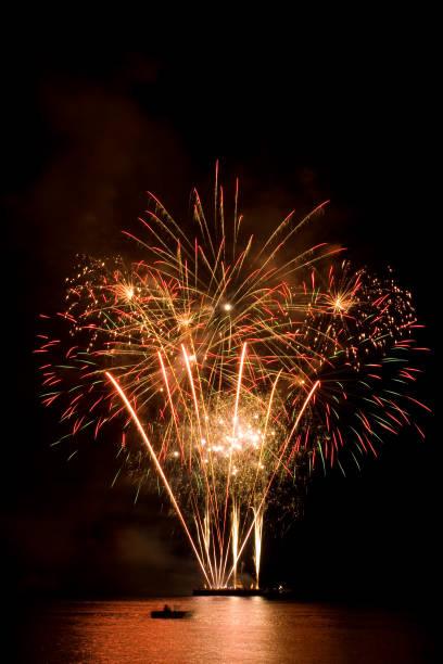 Beautiful fireworks in the night sky stock photo