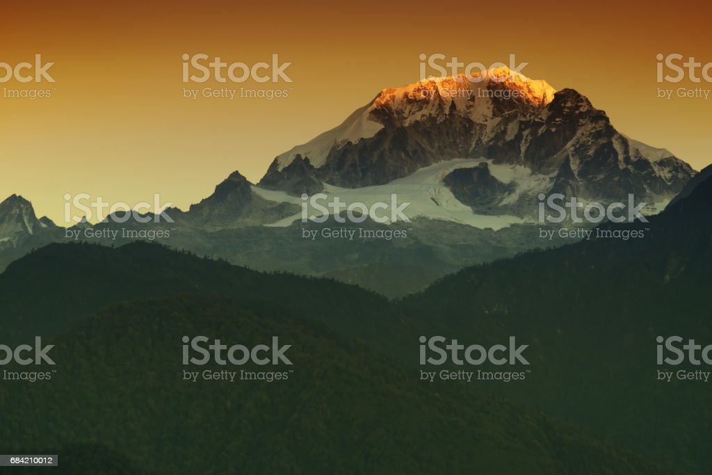 Beautiful first light from sunrise on Mount Kanchenjugha,  Sikkim, India. royalty-free stock photo