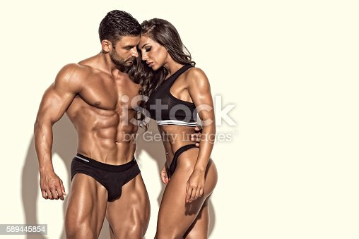 Athletic couple. Copy Space