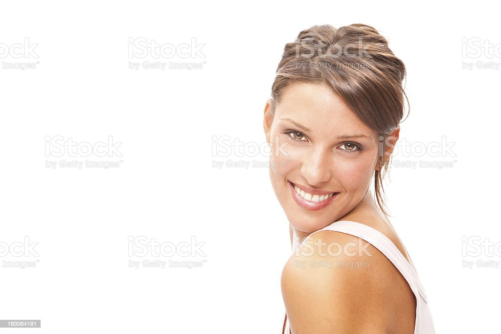 beautiful fitness sporty brunette girl closeup smile isolated on royalty-free stock photo
