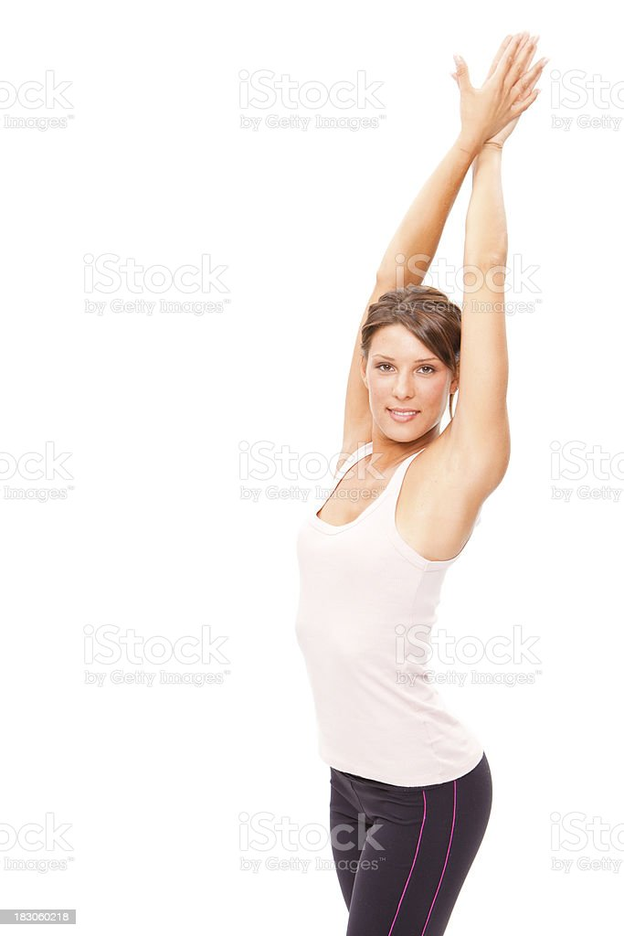 beautiful fitness sporty brunette girl isolated on white royalty-free stock photo