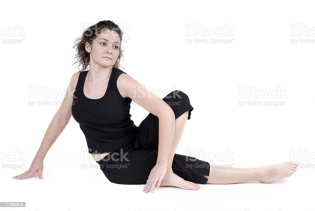 Beautiful Fitness Student Stretches stock photo
