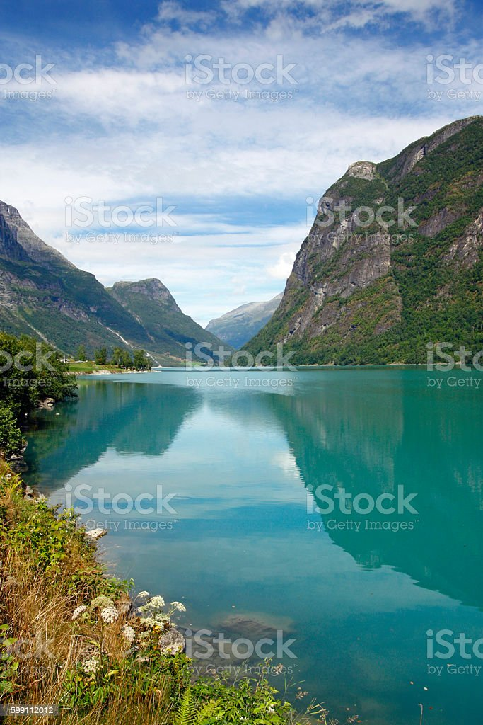 Beautiful fjord view Norway stock photo