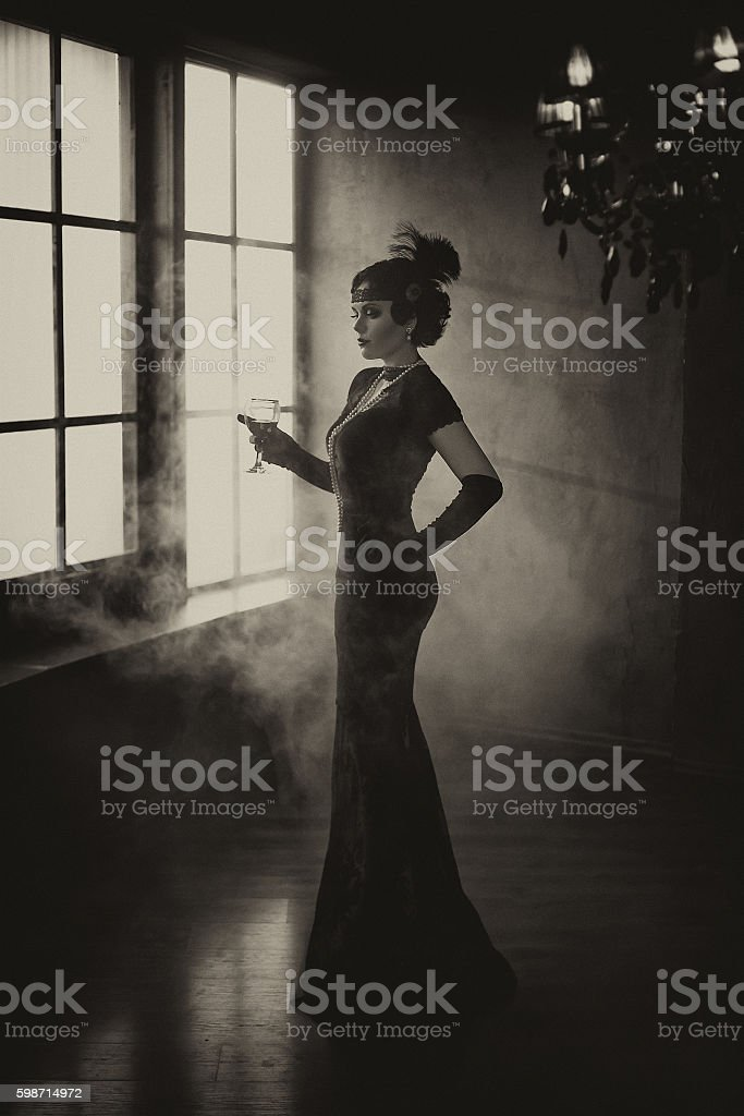 Beautiful Flapper girl stock photo