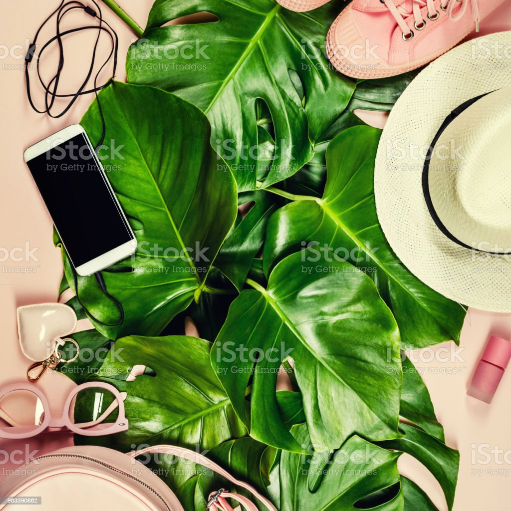 Beautiful flat lay with trendy accessories - Zbiór zdjęć royalty-free (Akcesorium osobiste)