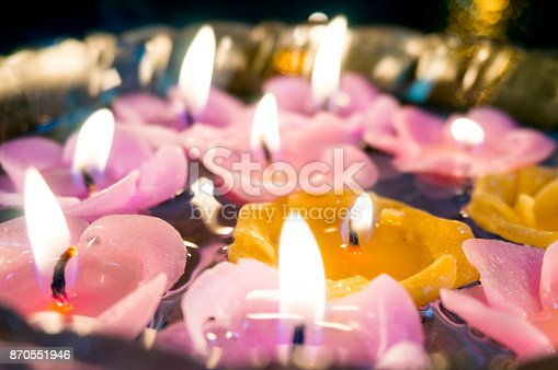 Beautiful Floating Candles Shaped Like Flowers Stock Photo More Pictures Of Asia