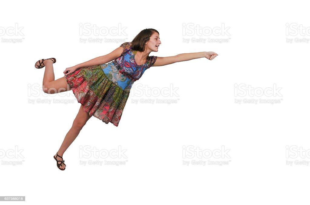 Beautiful Floating woman stock photo
