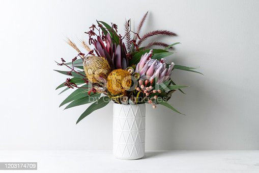 Beautiful floral arrangement of flowers in a vase, including protea, banksia, kangaroo paw eucalyptus leaves and gumnuts on a white table with a white background.