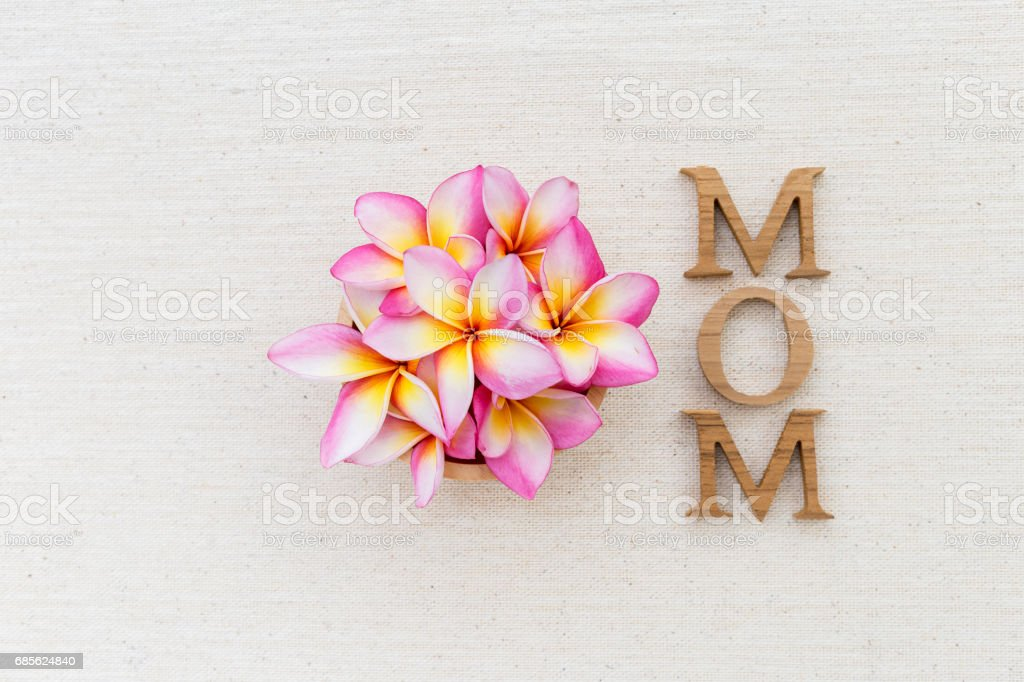 Beautiful flower and mom wooden text on canvas background royalty-free stock photo