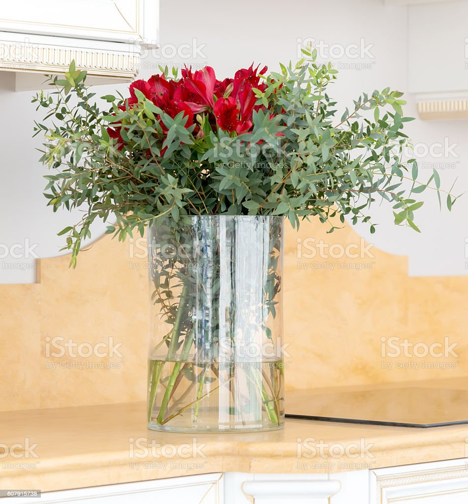 Beautiful Flower Arrangement In Clear Glass Vase Stock Photo Download Image Now Istock