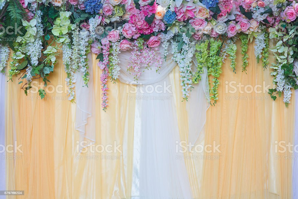 Beautiful flower decorate for wedding ceremony stock photo