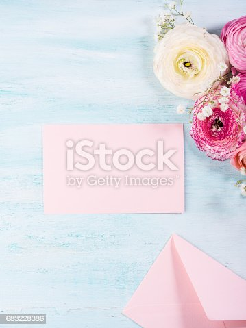 680461500istockphoto Beautiful flower frame bouquet on turquoise 683228386