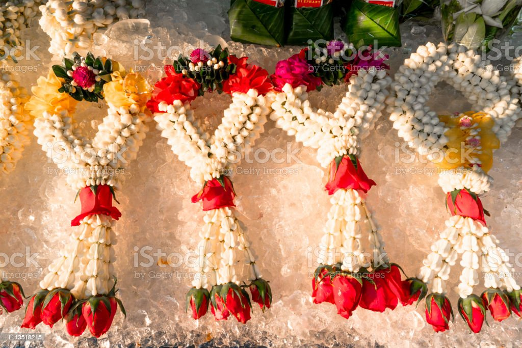 Beautiful Flower Garlands Displayed On Ice Bucket At A Flower Market Stock Photo Download Image Now Istock