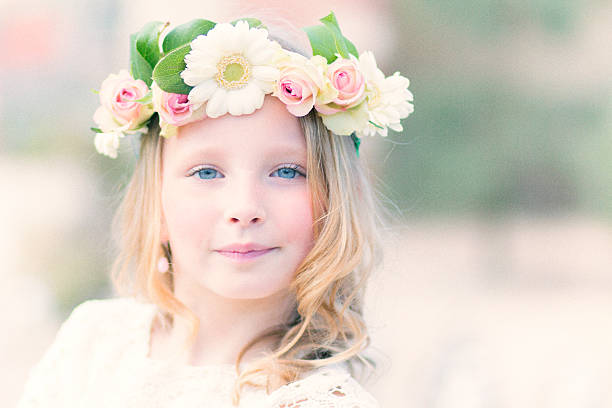 beautiful flower girl - communion stock photos and pictures
