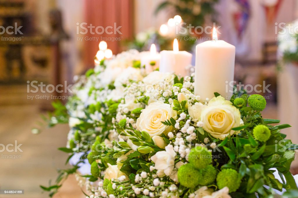 Beautiful Flower Wedding Decoration In A Church During Catholic