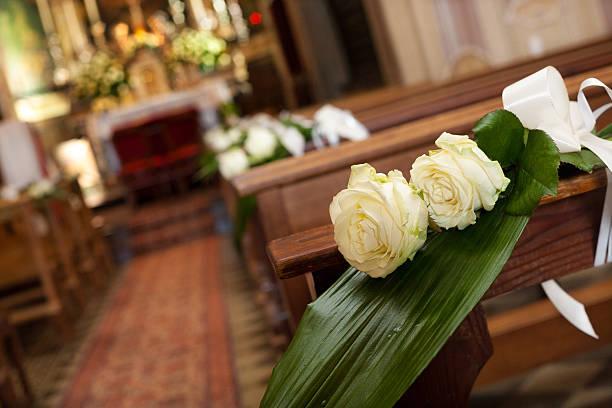 Beautiful flower wedding decoration in a church stock photo