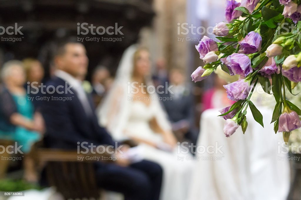 Beautiful flower wedding decoration in a church stock photo