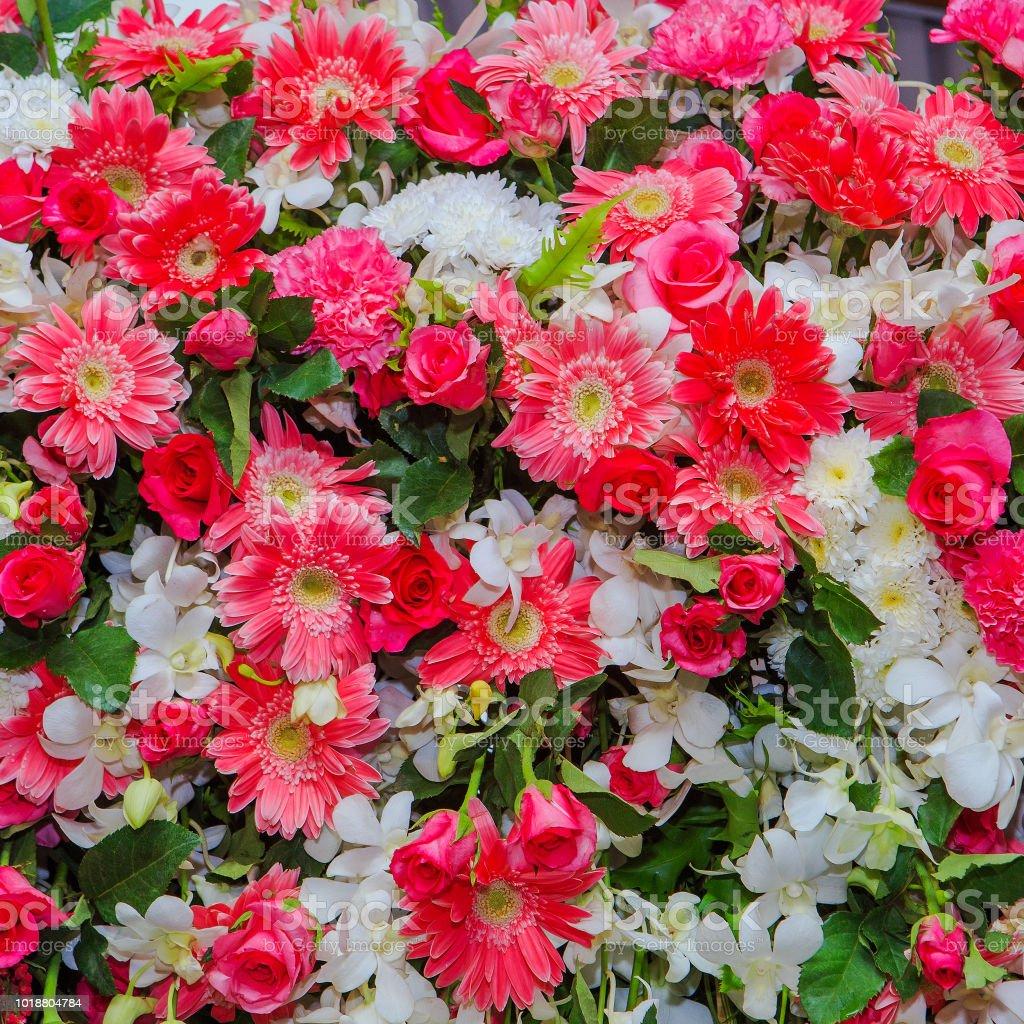 Beautiful flowers background for wedding scene Decoration stock photo