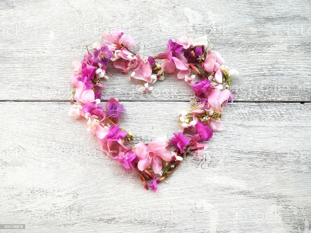 Beautiful Flowers Heart Shape For Valentine Day Background Stock