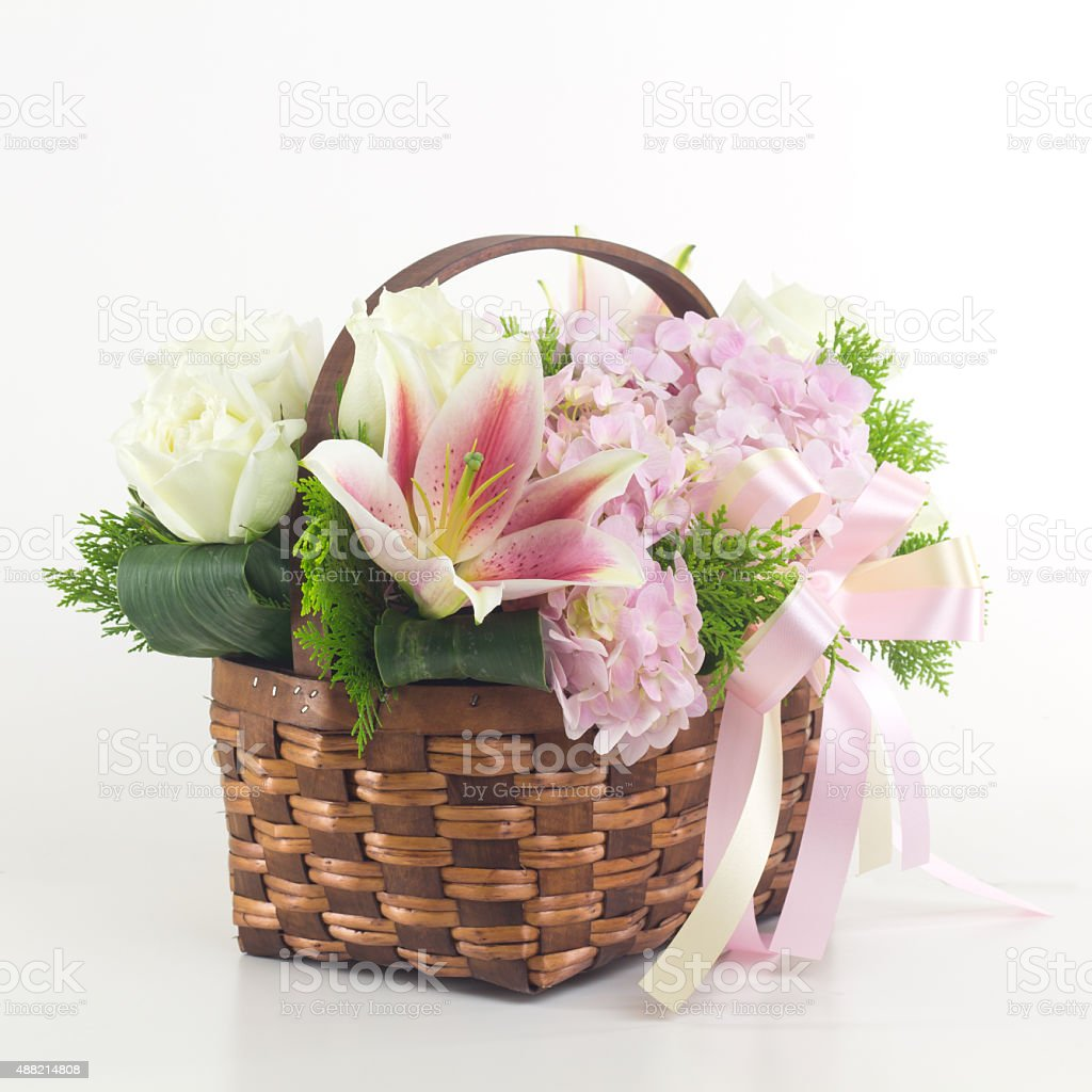 Beautiful Flowers In Basket Isolated Stock Photo More Pictures Of