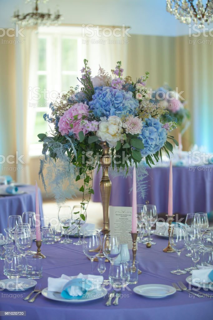 Beautiful Flowers On Table In Wedding Day Banquet Decoration In