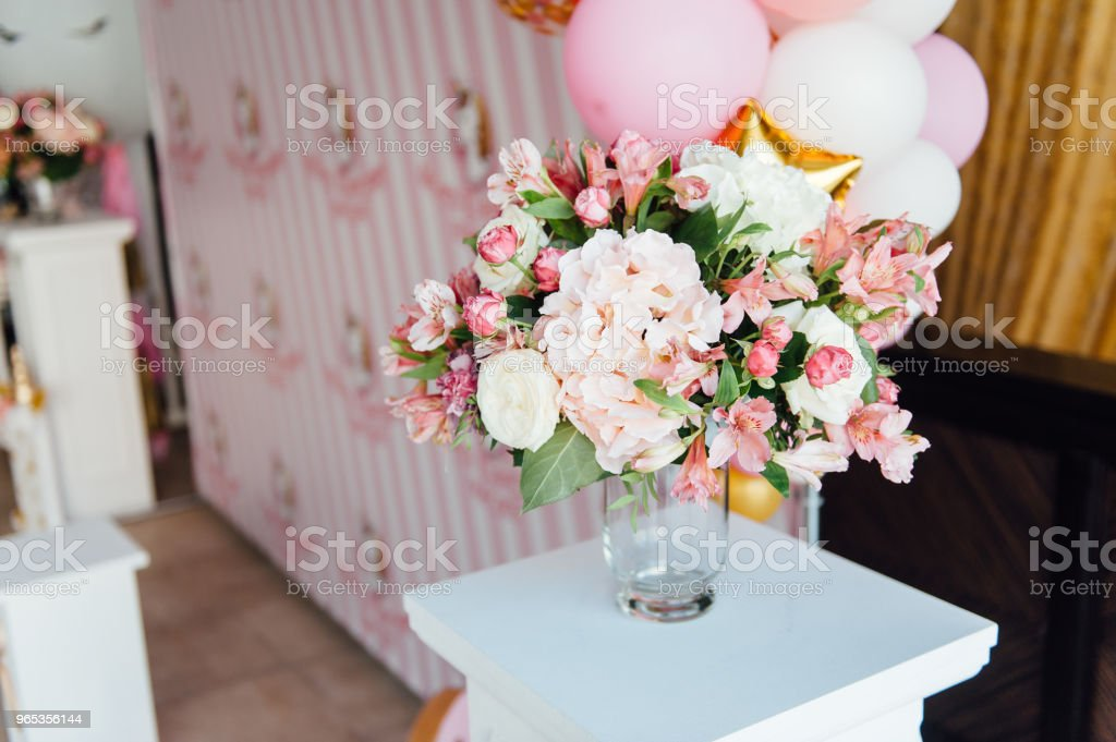 beautiful flowers on table in wedding day royalty-free stock photo