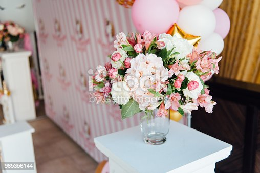 Beautiful Flowers On Table In Wedding Day Stock Photo & More Pictures of Arrangement